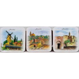 Jerusalem Cork Coasters Set Six Pieces- Art By Israeli Artists